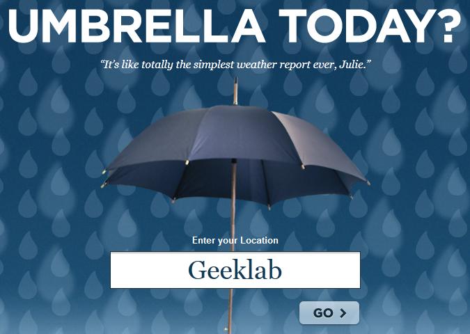 Apportez ou n'apportez pas votre parapluie aujourd'hui